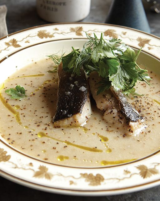 Jerusalem Artichoke Soup with Pan Fried Cod & Herb Salad