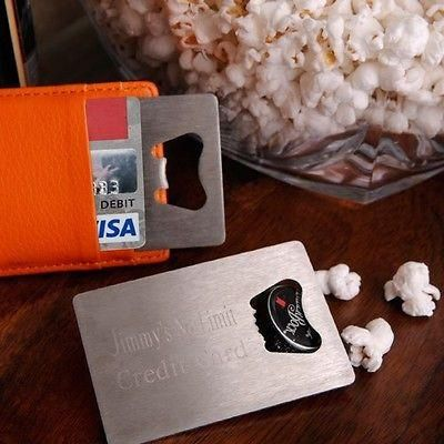 Stainless steel credit card bottle opener makes a great personalized gift to keep in your wallet for when you need to open the bottle top.  Great groomsmen gift idea.