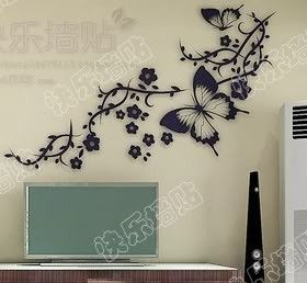 tree Wall Decor Decal Sticker butterfly flower by qinqindecal, $24.99