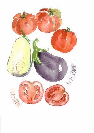 Instant Download,Watercolor Art,Aubergine Art,Tomato Painting,Wall Decor,JPG,High Resolution,Vegetables Painting,Kitchen Art