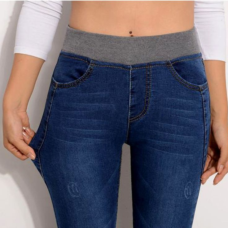 72.00$  Buy here - http://alihc4.worldwells.pw/go.php?t=32694213600 - 2016 Sexy Jeans Women Casual Waist Elastic Slim Denim Long Pencil Pants Plus Size 34 Woman Jeans Lady Trousers 72.00$