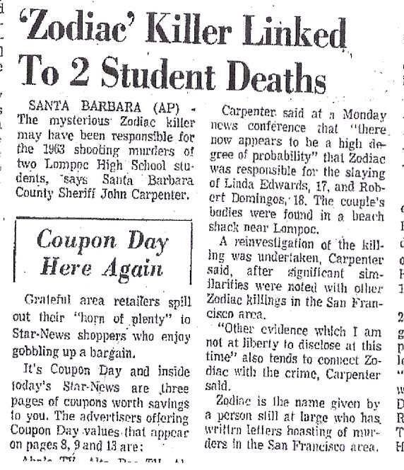 Image result for zodiac killer linked to 2 student deaths