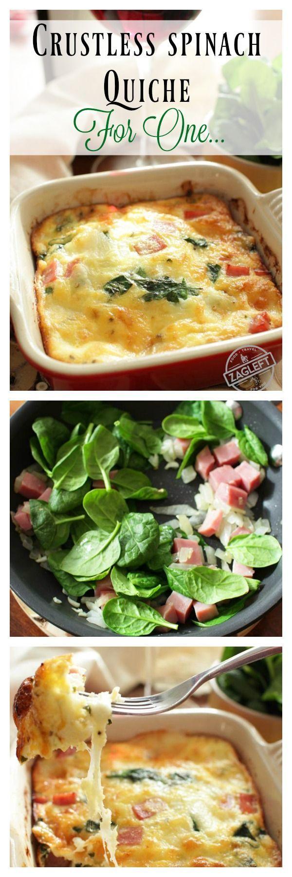 Crustless Spinach Quiche FOR ONE | zagleft.com