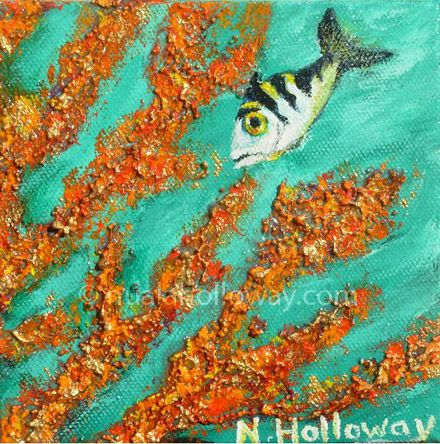 """Archer Fish Feeding on Coral"" by Nuala Holloway - Oil & Sand on Canvas #Coral #ArcherFish #Fish #Ecosystem"