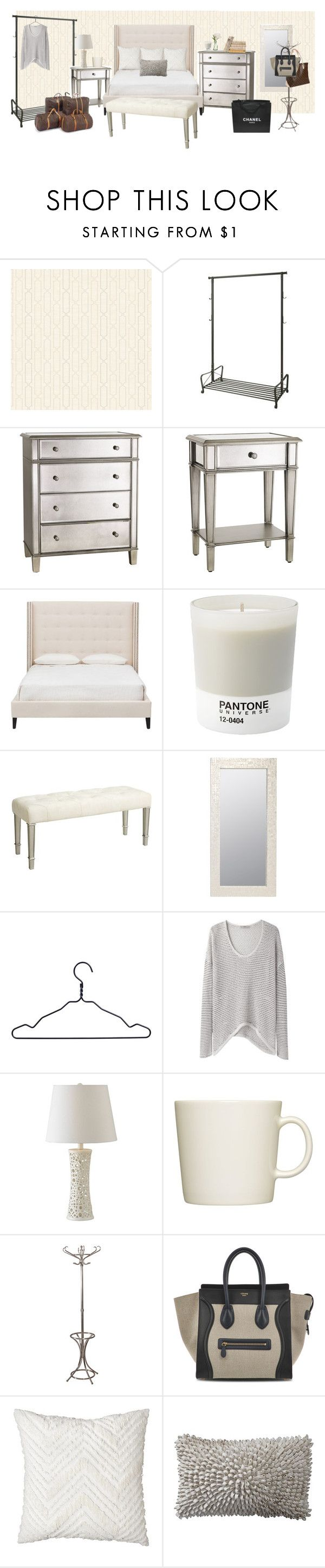 """kendall jenner inspired bedroom"" by hellotia ❤ liked on Polyvore featuring York Wallcoverings, Pier 1 Imports, Pantone, Worlds Away, HAY, PEONY, Chanel, Helmut by Helmut Lang, Kenroy Home and iittala"