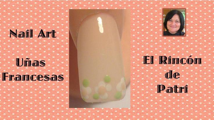 Diseño de uñas francesas con flores- El rincón de Patri- French manicure with…