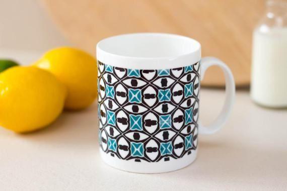Hand printed mug art deco pattern blue mug fine by DoodlePippin