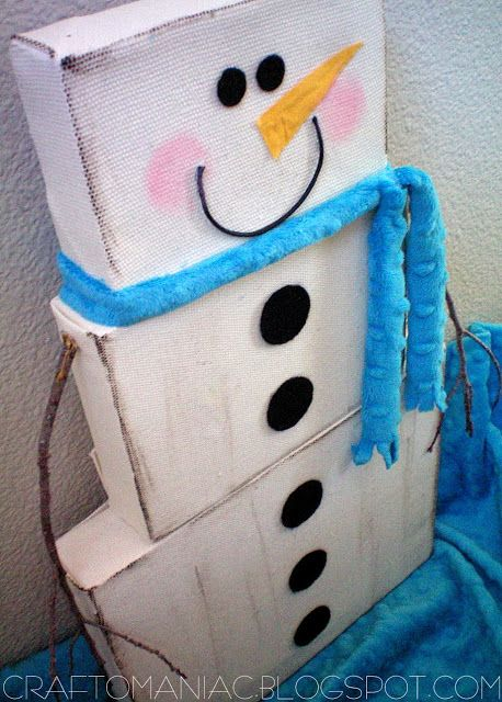 snowman from 3 different sizes of shoe box lids! Cute!
