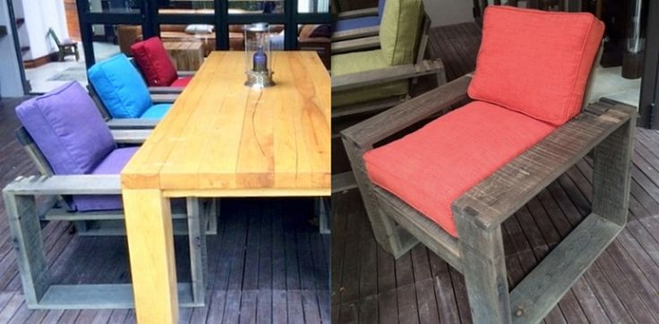 Pops of fresh colour make these unusual patio chairs sing. Adapted design from our Morris chairs range.
