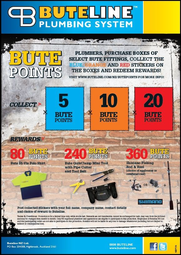 Bute Points Promo updated Nov 2014: Collect points stickers and redeem for new rewards! See http://www.buteline.com/nz/butepoints for more info.