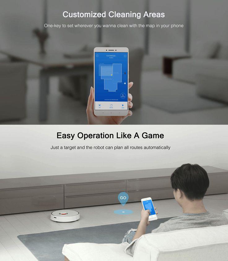 Original XiaoMi Mijia New Generation 2-in-1 Stone Smart Robot Vacuum Cleaner LDS and SLAM 2000Pa 5200mAh Intelligent Route Planning APP Control