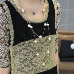 Chaîne de Chandail Femme Elégante Embellie de Perle Fausse Alliage Multi-Couches
