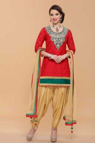Red Cotton Patiala Salwar Suit - 1636