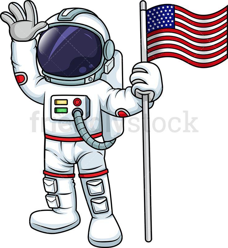 Male Astronaut Holding Us Flag Cartoon Vector Clipart Friendlystock Astronaut Illustration Cartoons Vector Space Theme Party