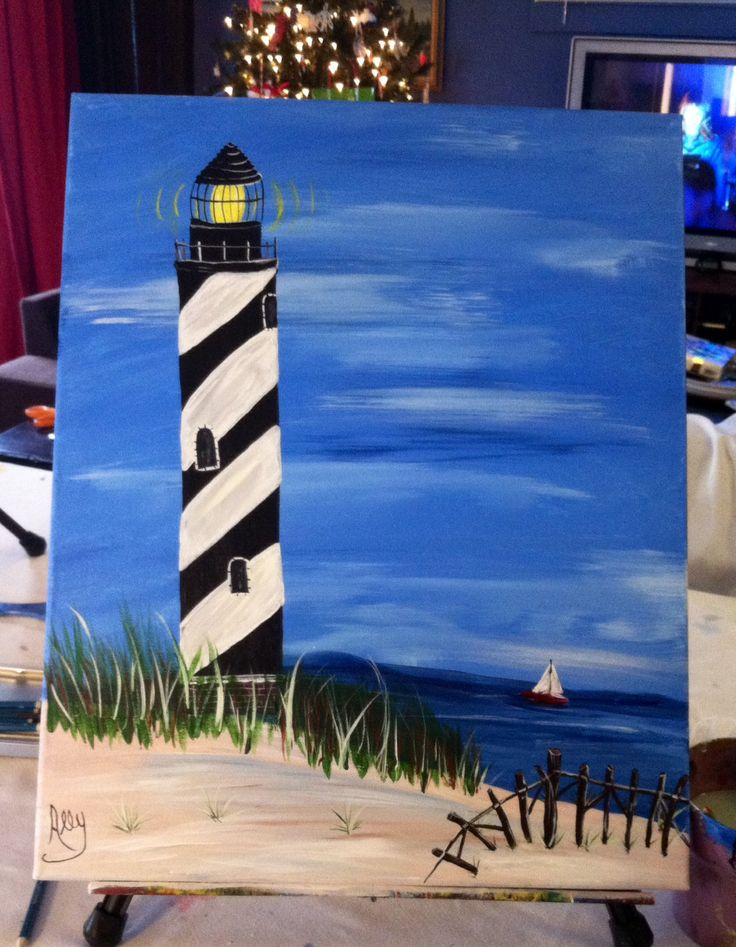 Black and White Light House painted with acrylic on a 16x20 canvas by, Ally Leitch