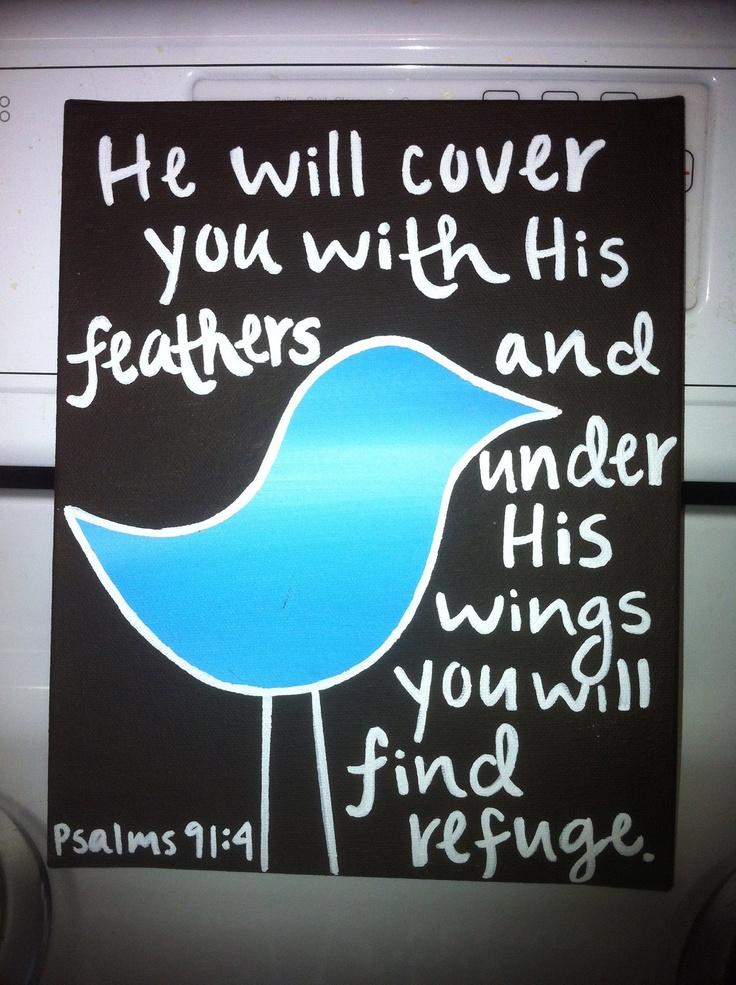 Bible Verse Bird Canvas: Sweet Words, Psalms 914, Ver Birds, A Tattoo, Bible Verses, Feathers Tattoo, Dust Covers, Psalms 91 4, Birds Canvas
