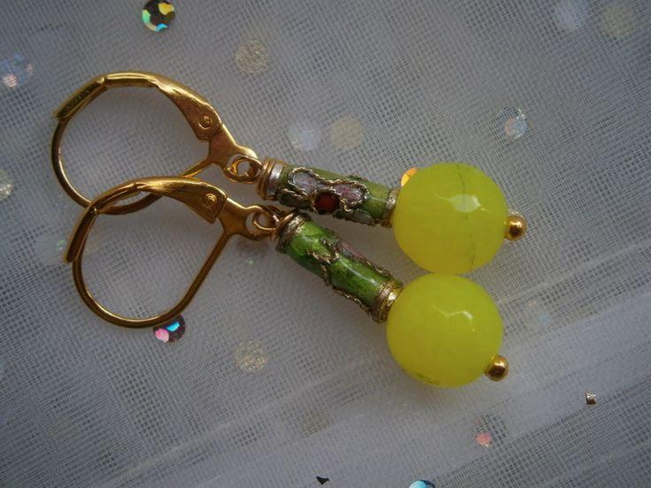 Ohrringe,neon gelb grün,Emaille,Trachtenschmuck von kunstpause auf DaWanda.com