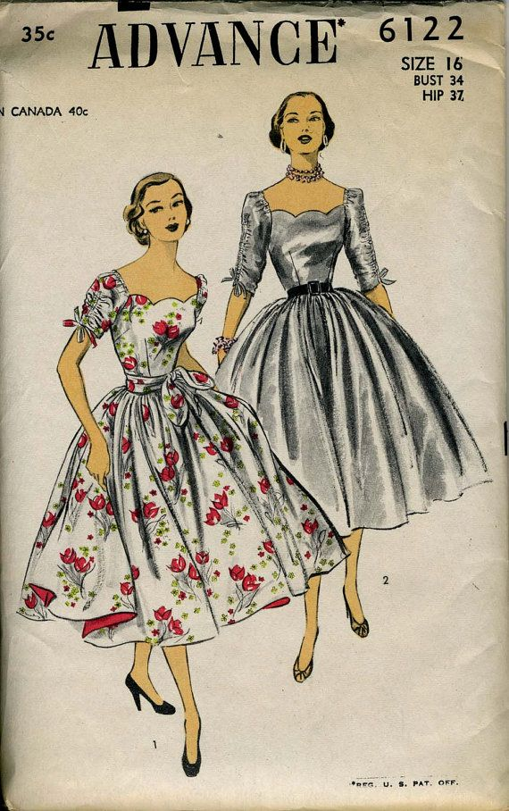 Advance 6122: Amazing 50s Dress with Scallop Neckline, Full Skirt. Bust 34, Size 16. Factory Folds.