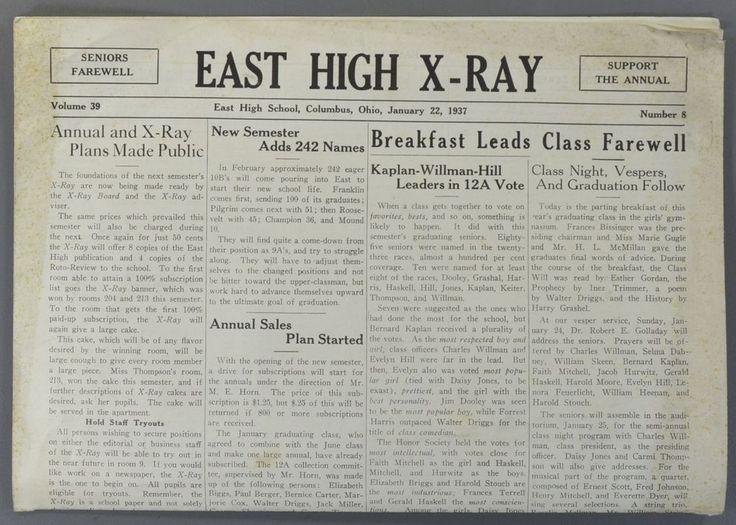 1937 January 22 EAST HIGH SCHOOL X-RAY Newspaper Columbus Ohio OH