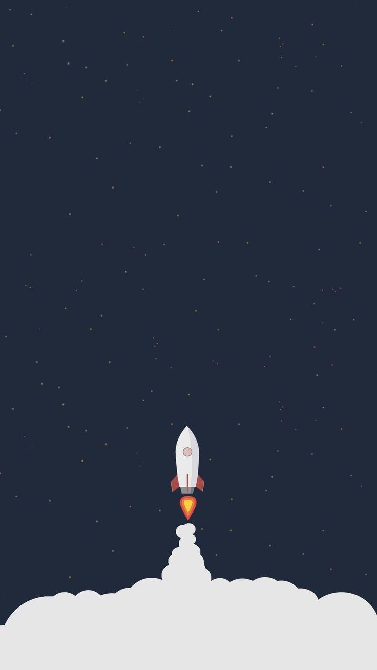 Download Rocket Liftoff Illustration iPhone 6+ HD Wallpaper