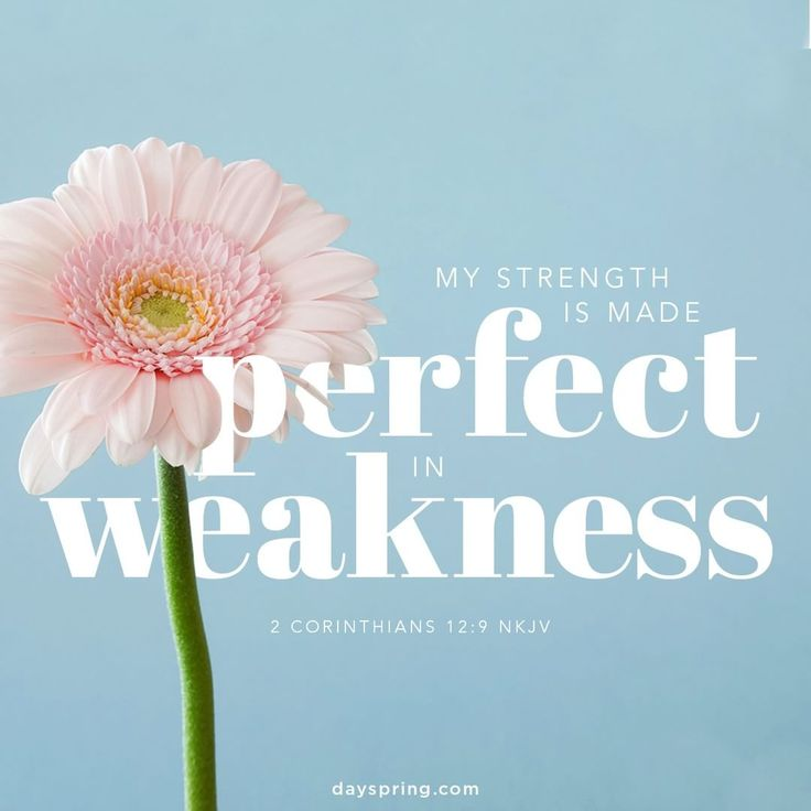 "And He said to me, ""My grace is sufficient for you, for My strength is made perfect in weakness."" Therefore most gladly I will rather boast in my infirmities, that the power of Christ may rest upon me. {2 Corinthians 12:9}"