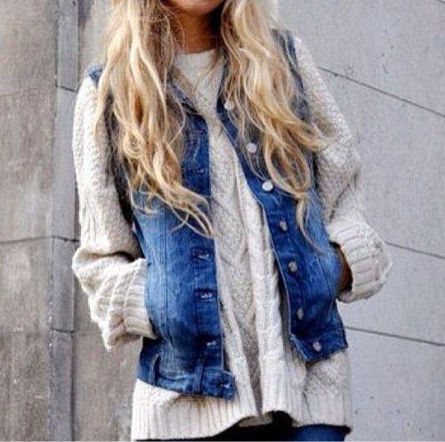 Denim vest over chunky cable knits!Denim Vests, Jeans Jackets, Chunky Sweaters, Jeans Vest, Denimvest, Jean Vest, Cable Knit, Big Sweater, Knits Sweaters