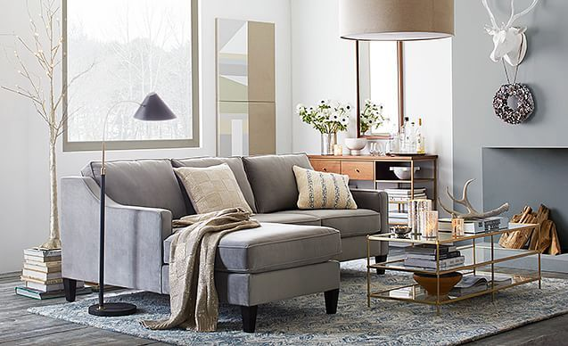 Mixed Metallics Living Room | West Elm