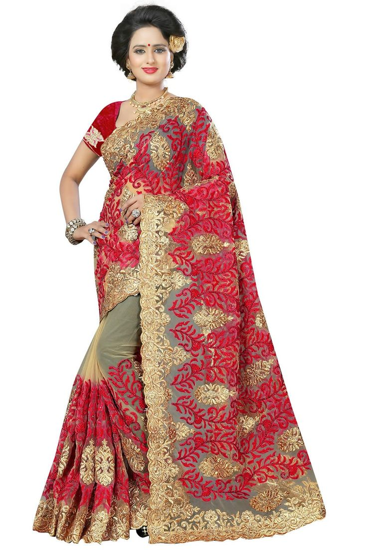 buy saree online Deep Pink Colour Net Designer Jari Embroidery Heavy Work Wedding Saree  Buy Saree online UK  - Buy Sarees online