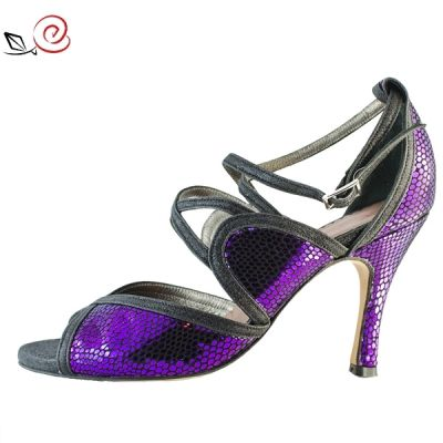 TANGO SHOES FOR WOMEN IN VIOLET SNAKE PRINT LEATHER AND BLACK SUEDE