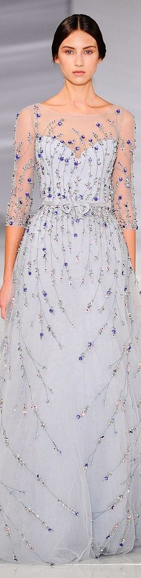 @Maysociety Beautiful Blue Beaded Floral Gown - Georges Hobeika Couture 2015/16
