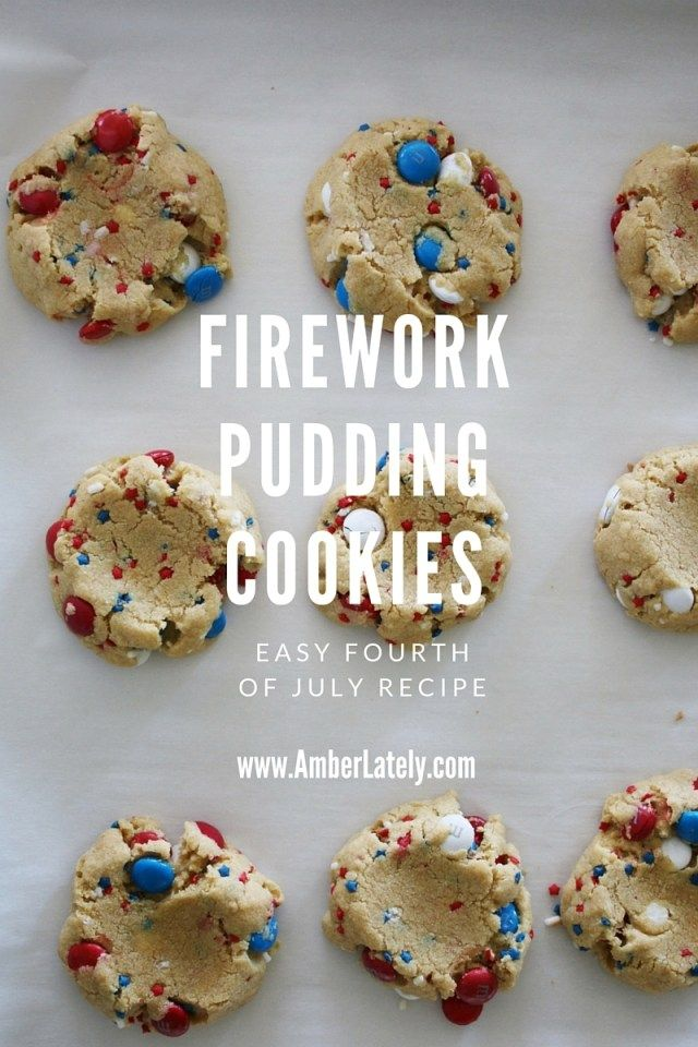 Firework Pudding Cookies // Fourth of July Recipe // M&M Pudding Cookies