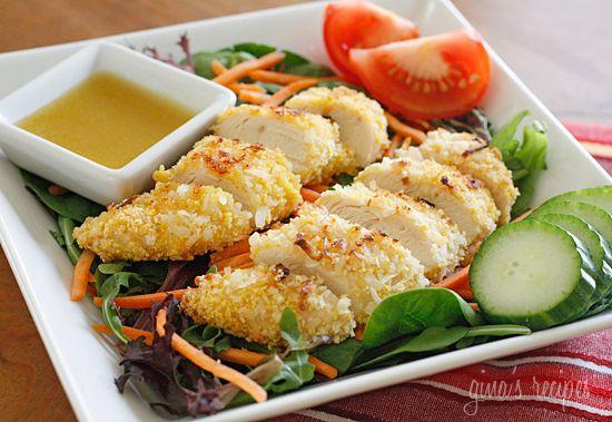 coconut chicken salad w/ warm honey mustard vinaigrette