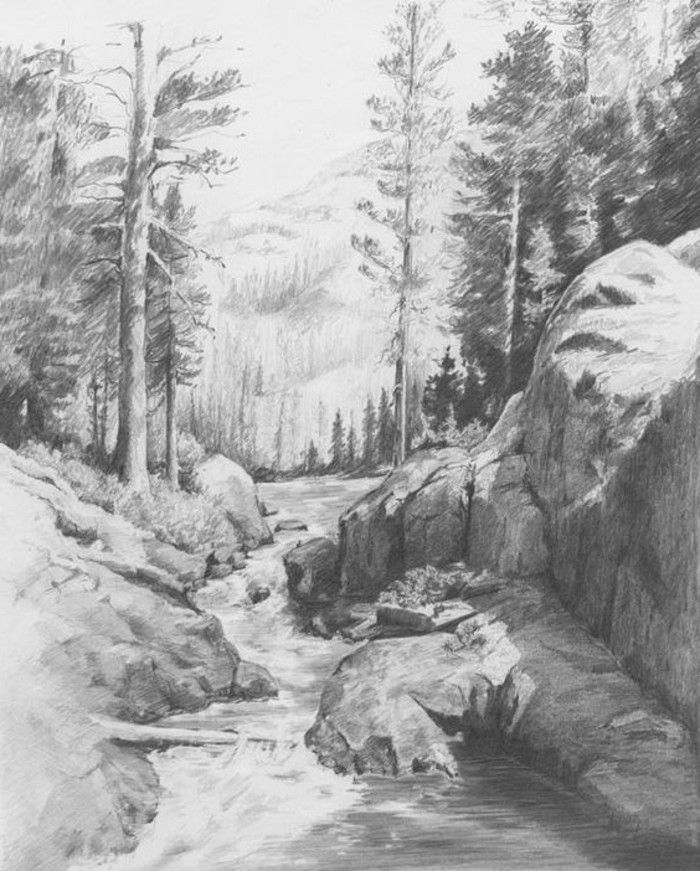 1001 Ideas For Diy Art Learn To Draw With A Pencil Landscape Pencil Drawings Pencil Drawings Of Nature Landscape Drawings