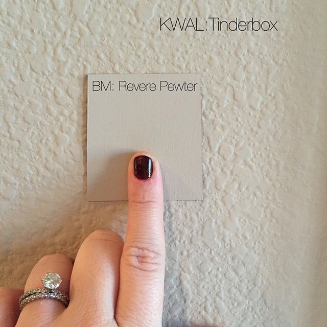 "One of the #1 questions I get asked is ""what is the neutral paint color throughout your home?"" The answer is KWAL Tinderbox, but it's kinda hard to find. I discovered the other day that the top @benjaminmoore color called Revere Pewter is almost an exact match!! I love this ""greige"" color! It goes with everything."