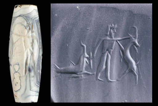 Achaemenid cylinder seal, white and grey banded agate cylinder seal, 5th-4th century B.C. Barrel shaped with a bearded Persian king gripping the horns of a rampant goat with its head turned back, the king wearing a crown, tunic and trousers, sword in his lowered hand, a goat fish to the left, combining the fore part of a goat with tail of a fish, 3.3 cm long. Private collection