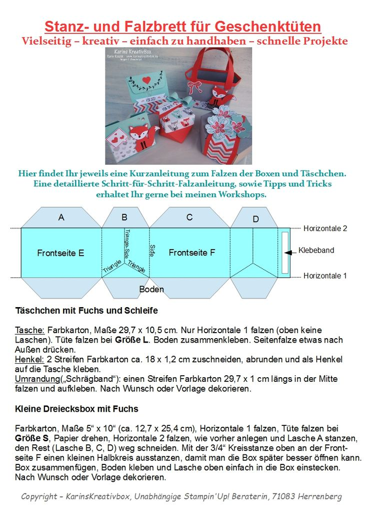 Stanz- und Falzbrett für Geschenktüten – Ausgefuchst! – Karins Kreativbox