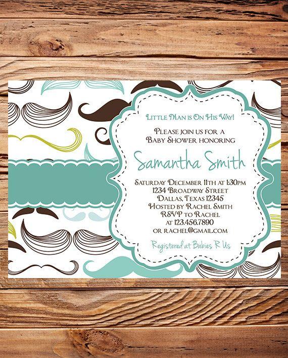 Mustaches Baby  shower Invitation boy by StellarDesignsPro on Etsy, $21.00