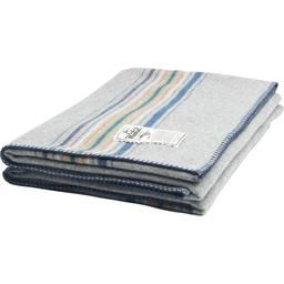 """Striking in its simplicity, our Shady Cove Stripe Wool Blanket is woven from our sumptuous 100% soft wool. Broad bands of navy accent each end of this 54"""" W x 70"""" L blanket. Over-seamed and whip-stitched on all edges.  Features:   • 100% soft wool • 54"""" W x 70"""" L • Made in USA"""