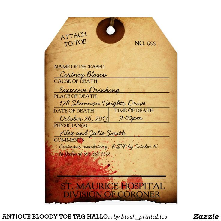 113 best trick or treat halloween party images on pinterest antique bloody toe tag halloween invitation stopboris Images