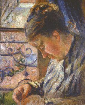 """Camille Pissarro (1830-1903) ~ """"Madame Pissarro cousant près d'une Fenêtre"""", 1878"""