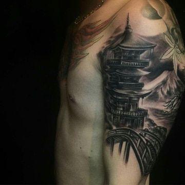 tatuajes de templos chinos para hombres