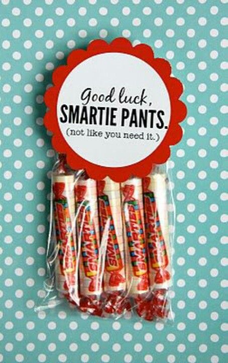 ha ha  great idea!  Good luck, Smartie Pants!  Can't wait to make these for Louie when he needs extra encouragement!