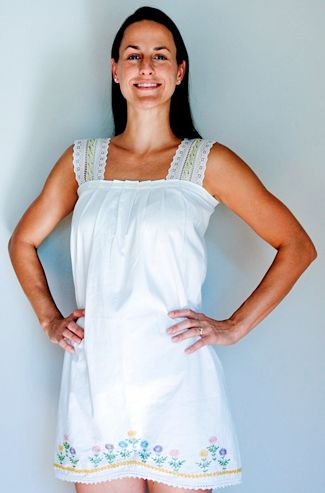 Take an embroideried pillowcase and turn it into a cute summer top! (or a skirt)