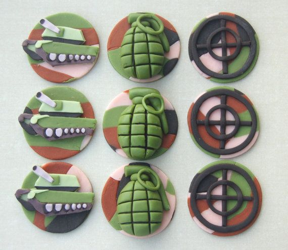 Army cupcake toppers by HappyCaker on Etsy, $36.00