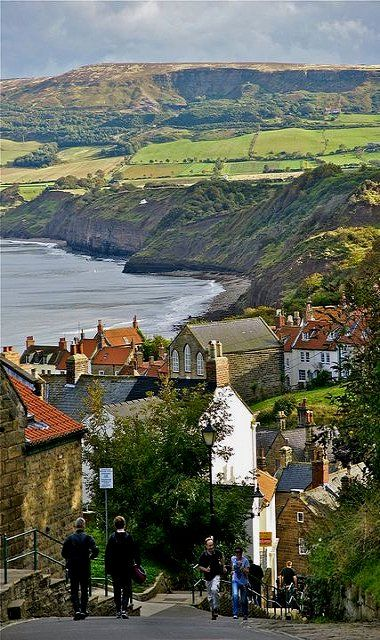 Robin Hood's Bay, North England    yhis is a beautiful little harbour use to watercolour  around this coast  M