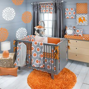 Sweet Potato Rhythm Baby Bedding Crib Set 8PC Orange Grey Modern Bold Unisex | eBay