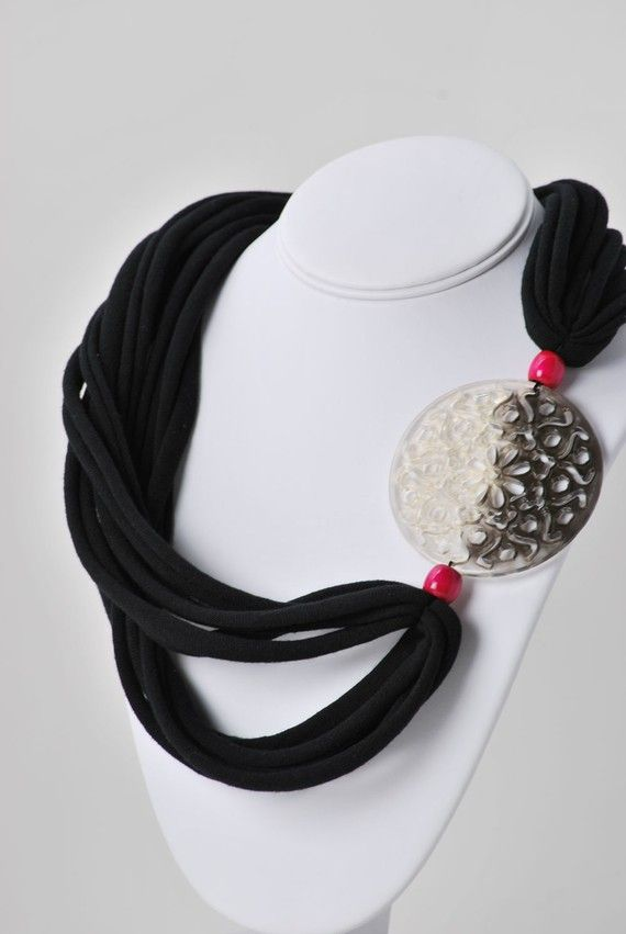 upcycled black and magenta t shirt necklace by six20tees on Etsy, $15.00