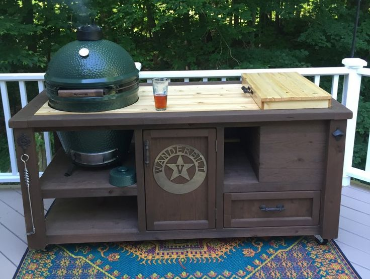 Grill Table for Big Green Egg, Kamado Joe, Primo -… | Rustic ...
