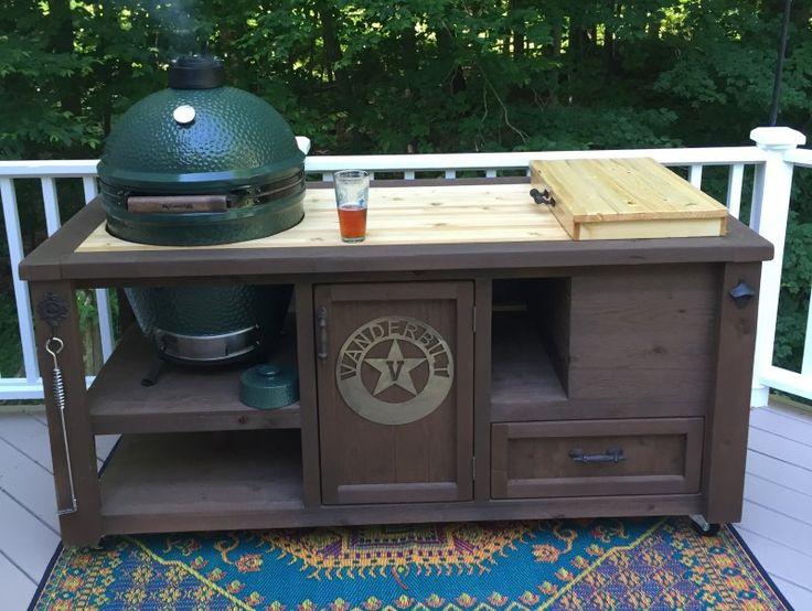 Grill Table for Big Green Egg, Kamado Joe, Primo -… | Rustic ...