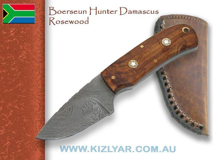 Kappetijn Boerseun Hunter Skinner Damascus (Rosewood)